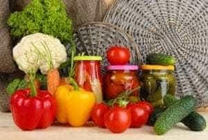 conserves de légumes en verre