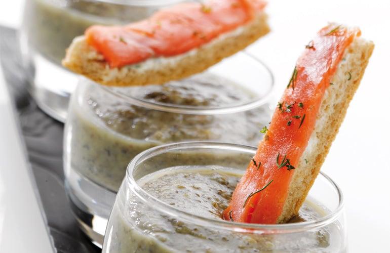 Crème de lentilles et mouillettes de saumon fumé