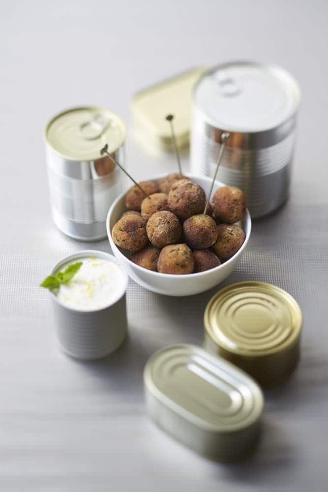 Boulettes de taboulé, yaourt citronné